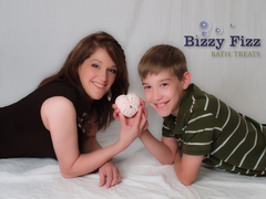 Mother and son team of Bizzy Fizz Bath Treats, Laura and Skylar Bisel