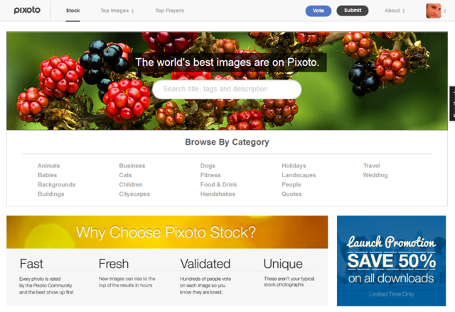 Pixoto Stock Home Page