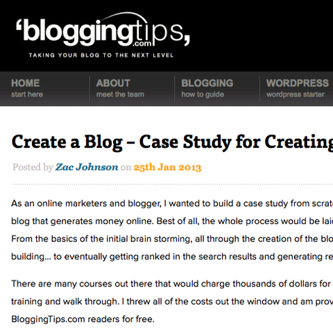 BloggingTips.com's Create a Blog Case Study