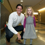 Milos Roanic visits with Claire at Holland Bloorview Kids Rehabilitation Hospital