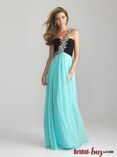 New Arrival Charming Princess One-shoulder Rhinestones Ruched Long Chiffon Prom Dress