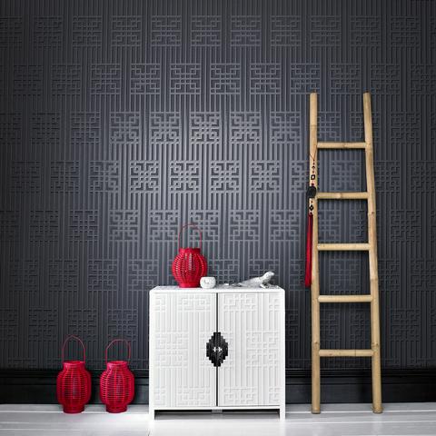 Bao Black Geometric Wallpaper, by Steve Leung
