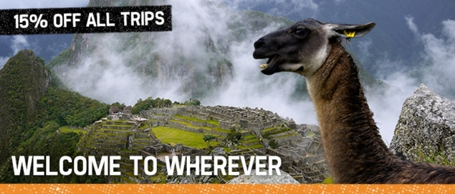 Geckos 'Welcome to Wherever' 15% off all tours.