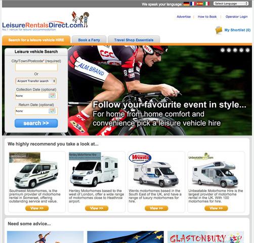 Motorhome Hire portal LeisureRentalsDirect.com