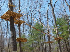 """Tree platforms and """"aerial trails"""" under construction at the new Adventure Park at Storrs. (Photo by Anthony Wellman)"""