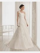 A-line One-shoulder Court Train Woth Satin Wedding Dress
