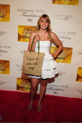 Aimee Teegarden with her Beautorium Bag at Hollywood NOTE Foundation