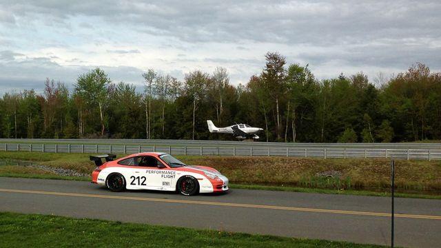 Performance Flight lands a Cirrus SR22 at Monticello Motor Club.