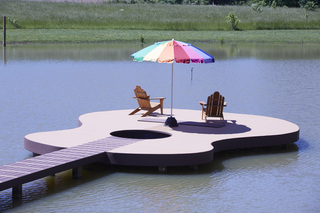 Guitar-shaped Deck Rocks MoistureShield Composite Decking
