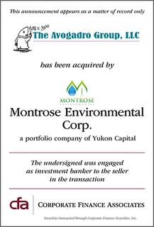 CFA Announces Acquisition of Avogadro Group LLC by Yukon Capital's Montrose Environmental Corp.
