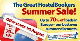 Hostel Summer Sale 2009 by HostelBookers.com - prices from just £3 per person per night