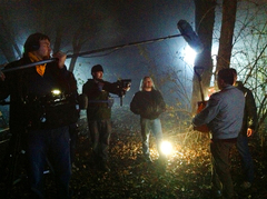 The Motion Source crew filming the dig scene.