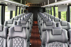 The Luxury Coaches of Golden Limousine International are equipped for video, DVD and CD with luxurious seats.