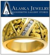 Multi Panel Natural Gold Nugget Ring with Channel Set Diamonds