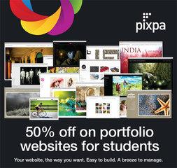 Pixpa.com announces 50% discount on portfolio websites for students