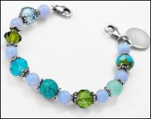 Earth - Sea - Sky Links of Hope Womens Beaded Bracelet 6 Inch