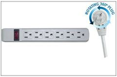 Surge Protector, Flat Rotating Plug, 6 Outlet, Gray Horizontal Outlets, Plastic, Power Cord 25 foot