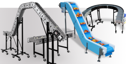 Custom modular plastic conveyors for parts manufacturing and food processing industries