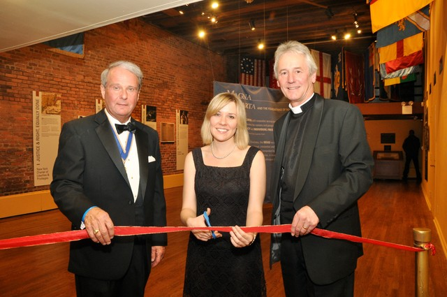 Opening Magna Carta exhibit. (l-r) Charles C. Lucas, MD, President and Suzanne Prabucki Curator of Fraunces Tavern Museum with The Very Reverend Philip Buckler, Dean of Lincoln Cathedral.