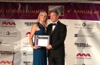 "Justine Mannering, BDA Managing Director in New York, receiving her ""40 Under 40"" award."