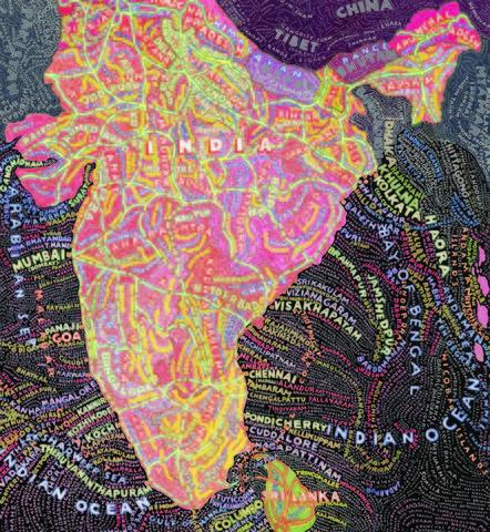 "Paula Scher, India Hand-pulled screenprint 60"" x 40"" (153 cm x 101 cm)"