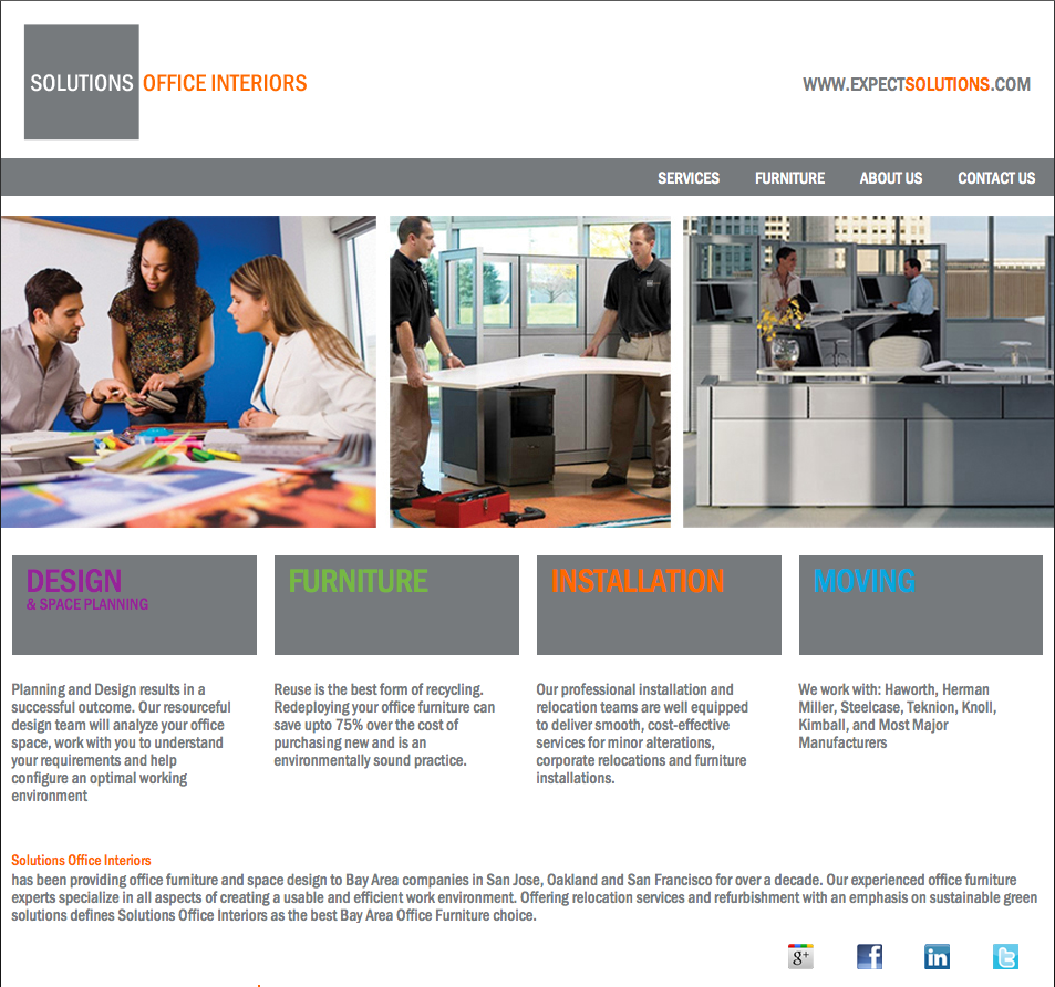 Solutions office interiors launches new website for Office interior solutions