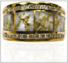Natural Gold in Quartz Ladys Ring with Diamonds