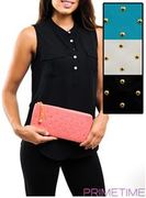 LARGE STUDDED WALLET CLUTCH-5PIECES