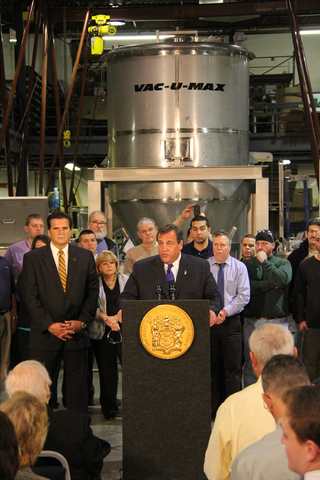Gov. Chris Christie speaks at VAC-U-MAX in Belleville, NJ