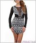 WHITE BLACK LONG SLEEVE ABSTRACT DRESS-2-2-2