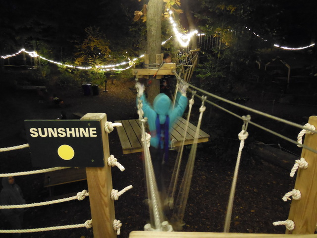 A young climber steps off the starting platform onto the first element of an Adventure Park course under the gently twinkling lights.