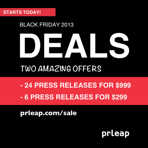 PRLeap Kicks Off Black Friday 2013 Deals Early #blackfriday