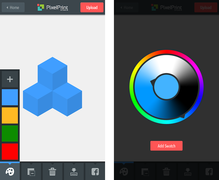 The iPhone version of PixelPrint Studio, showing the build screen and colour selection wheel