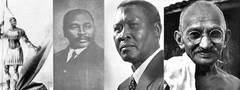 Shaka Zulu, Dr. John Dube, Albert Luthuli, MK Gandhi, and Former President N. R. Mandela