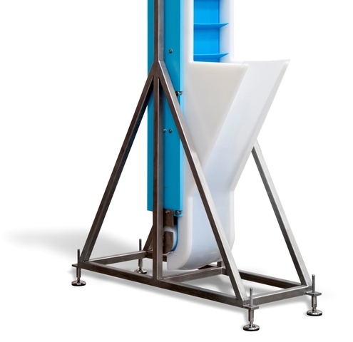 DynaClean food grade conveyors have the option for custom hoppers