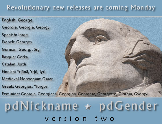 Revolutionary upgrades for Peacock Data's pdNickname and pdGender software are set for release Monday.