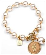 J Initial - 24K Gold Plated Coin & Cotton Pearl 7 1/4 Inch Bracelet by John Wind - Item JW1044