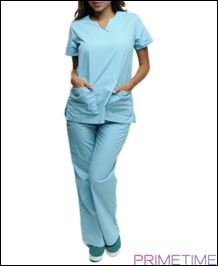 AQUA COCOA MEDICAL SCRUBS UNIFORM TOP AND MATCHING BOTTOMS/1-1-1-1