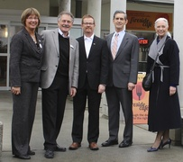 Left to right: Karen L. Baillie, CEO; Gerd Bartel, President MBS; Health Minister Terry Lake; Simon Gibson, MLA Abbotsford-Mission; Catherine Kidd, Vice-President MBS