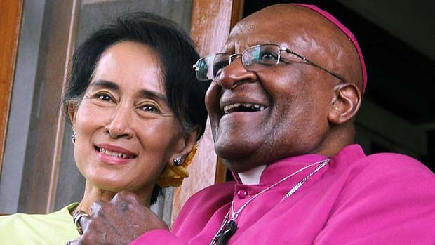 Desmond Tutu with Aung San Suu Kyi of Myanmar