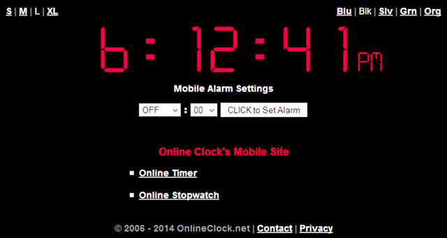 The Mobile Version of the world's original Online Alarm Clock at OnlineClock.net