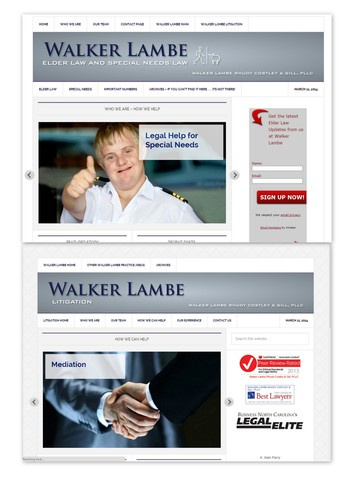 Snapshots of both new webpages www.walkerlambeelderlaw.com and www.walkerlambelitigation.com