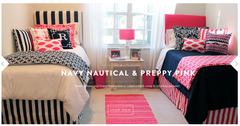 Nautical Navy and Preppy Pink Designer Bed in a Bag Set <br />