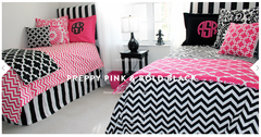 Preppy Pink and Bold Black Designer Bed in a Bag Set <br />