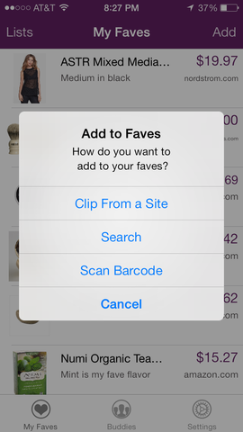 Three Ways to Add Products to Faves Lists