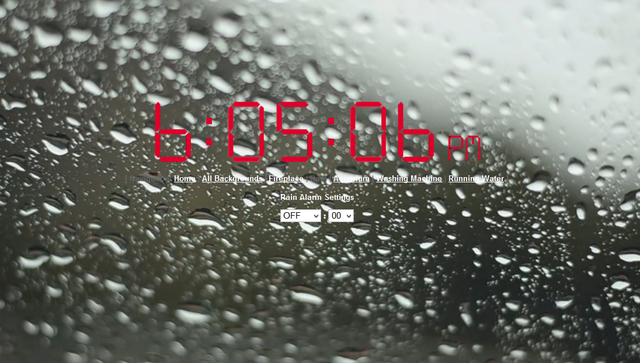 Online Alarm Clock with a Virtual Rain Background