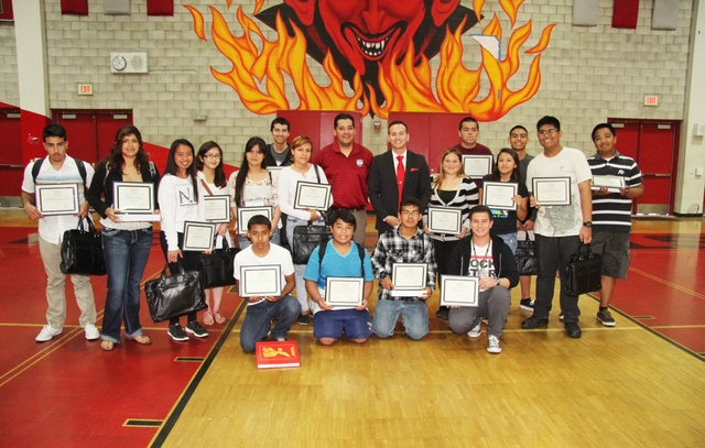 Sweetwater High Students after being presented with award certificates and laptops on April 11th