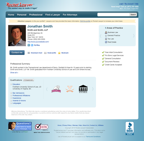 Enhanced Free Legal Profile