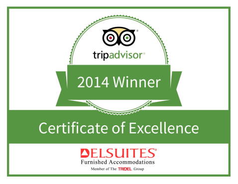 Delsuites is recognized as a top performing specialty lodging in Toronto as reviewed by TripAdvisor.