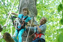Many parents enjoy climbing with their children at The Adventure Park.